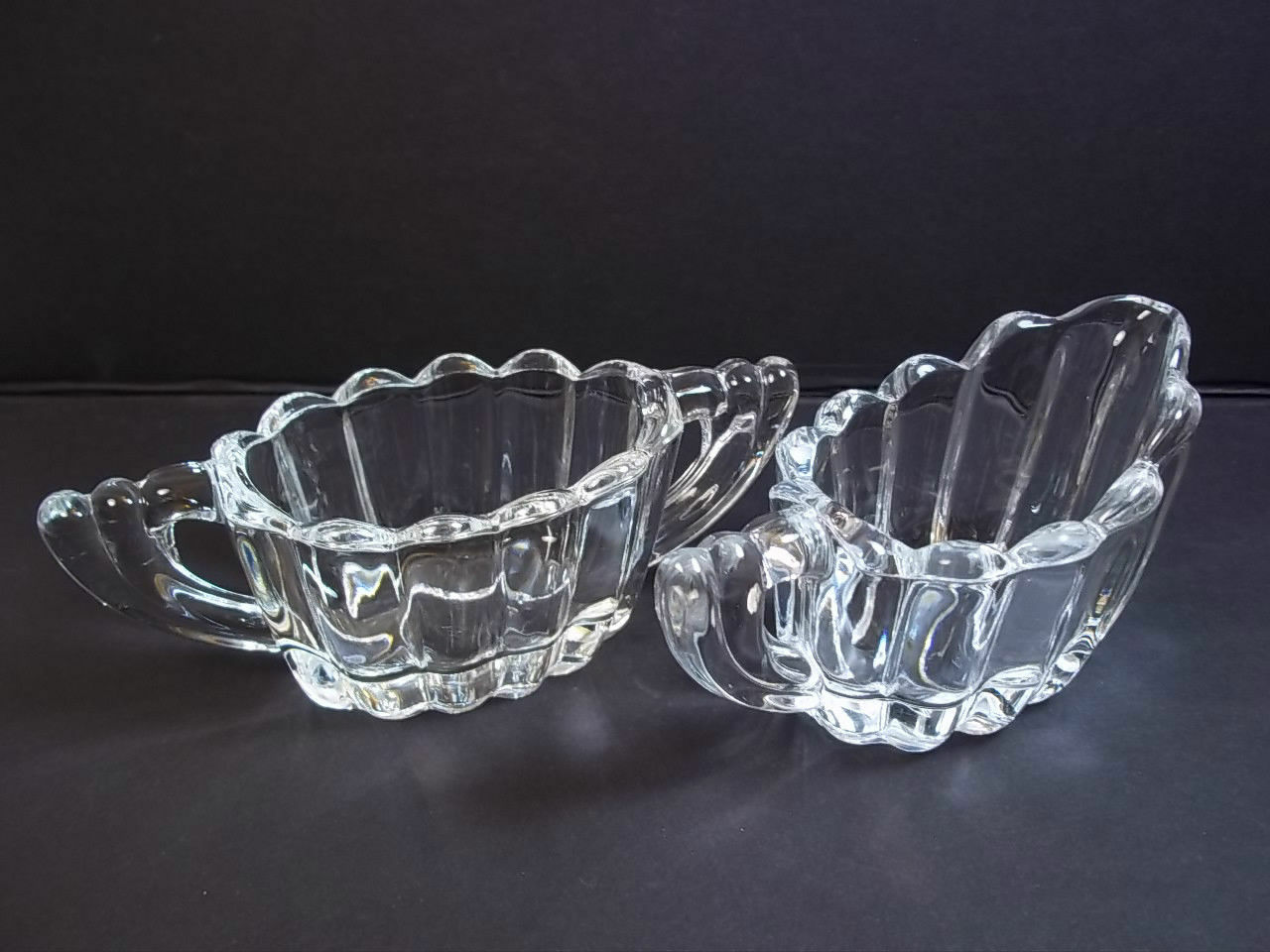 Primary image for Heisey individual creamer & open sugar crystolite ribbed