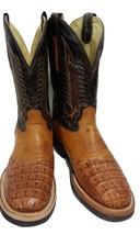 Corral Boots Cognac Caiman/Ostrich Spur Guard Boots in size 8D - $149.00