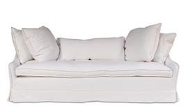 French Country Chic Shabby White Belgium Linen Sofa,85'' x 36'' x 20'' Tall. - $2,800.00