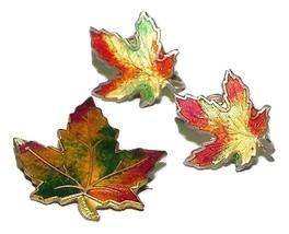 Signed Canadian Sterling and Enamel Maple Leaf Earrings Set - $49.95