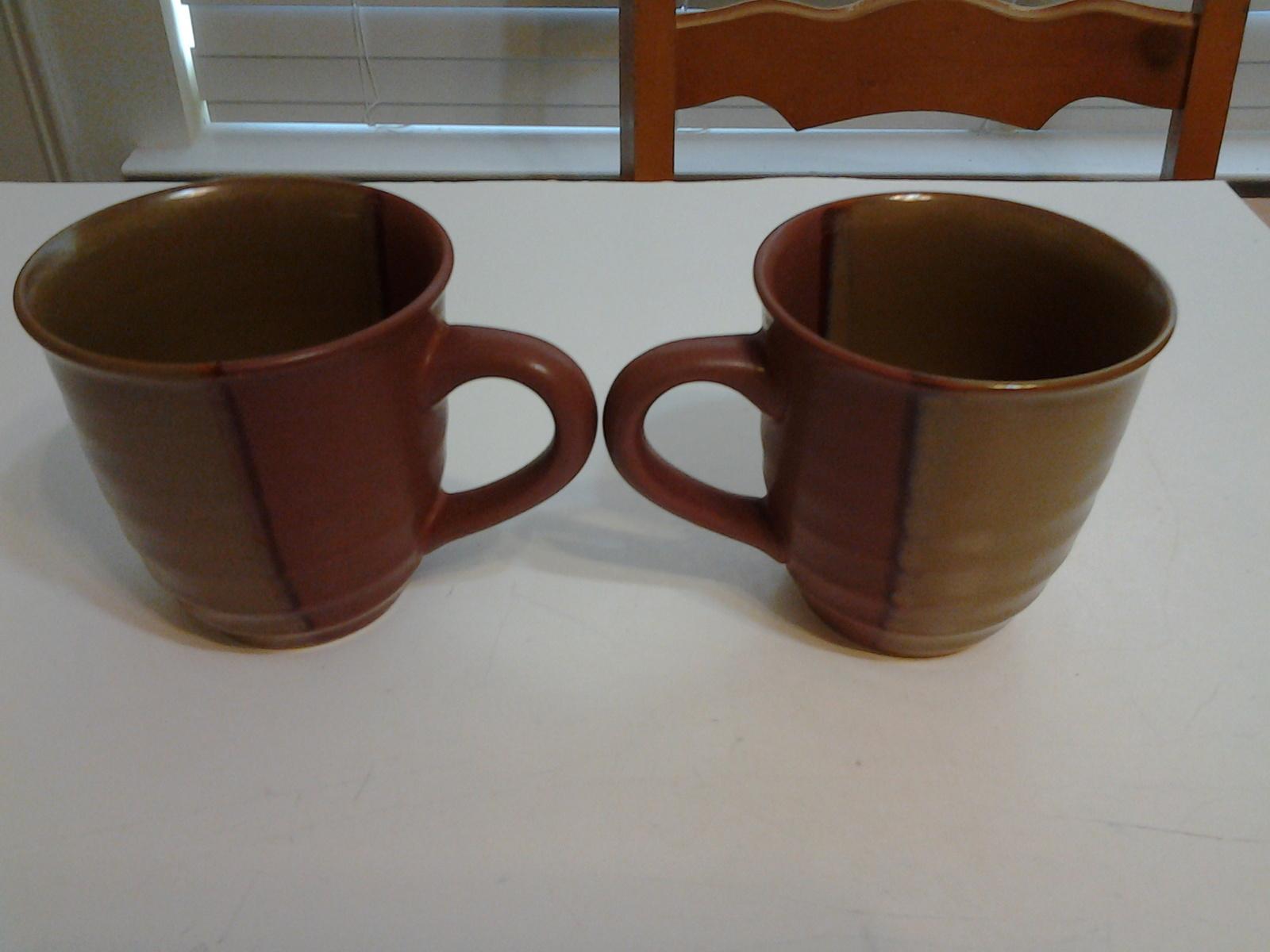 "Sango, Gold Dust Sienna, (2) Mugs #4039, 4"" Tall, EUC"