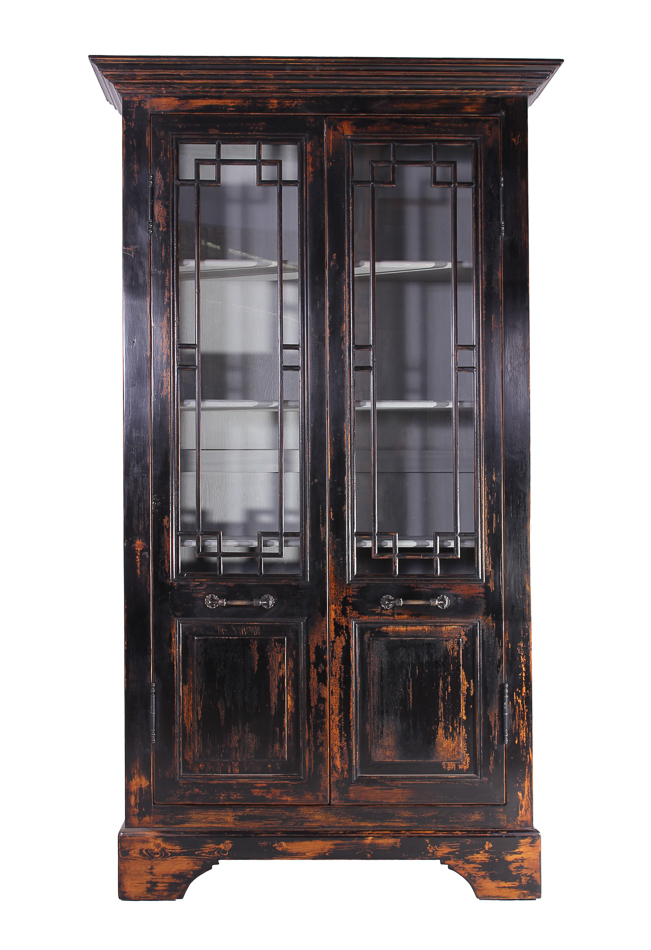 187 recycled distressed black pine cabinet with glass doors 98 tall