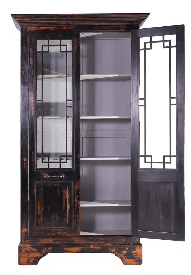 recycled distressed black pine cabinet with glass cabinets cupboards. Black Bedroom Furniture Sets. Home Design Ideas