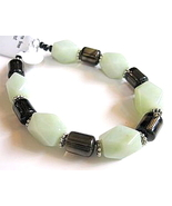 Green Jade Smoky Black Quartz Gemstone Bracelet - $20.00