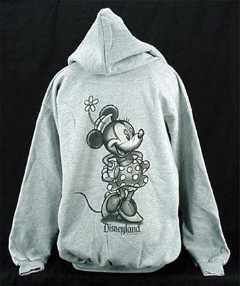 Minnie Mouse Sketch Gray Zip Hoodie - XLarge - NEW