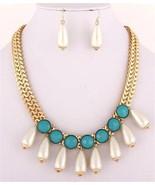 Off white teardrop pearl turquoise beads necklace set gold tone fashion set - $18.80
