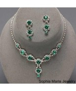 Emerald Green Bridesmaids Rhinestone Necklace set wedding party prom eve... - $19.79