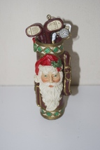 "Santa Claus Head on Golf Clubs Bag Christmas Ornament 5"" - $14.95"
