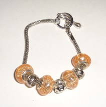 Orange  Crackle Bead Charm Bracelet - $4.99