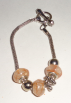 Light Orange Large Hole European Style Bead Cha... - $2.99