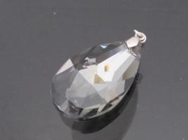 Vintage Jewelry Silver-Tone Smoky Glass stone Charm Pendant - $15.00
