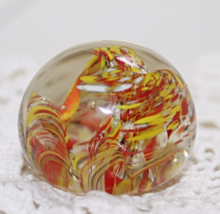Vintage Mod Art Glass Paperweight / Orange / Yellow / Abstract Flower Bu... - $14.00