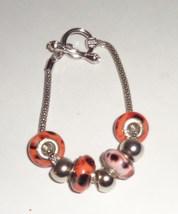 Orange & Black Bead Charm Bracelet - $5.99