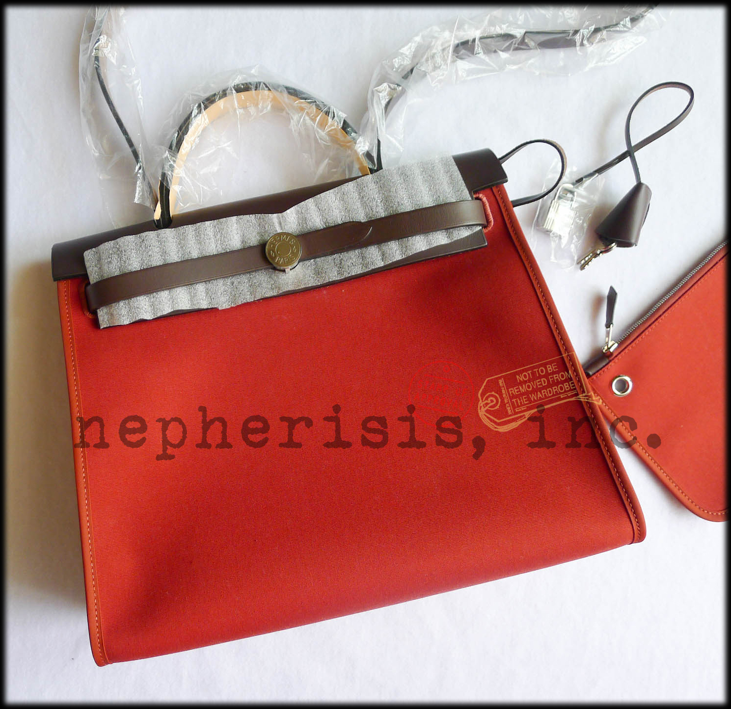 AUTH BNIB Hermes HERBAG ZIP PM 31 Bag ROUGE VENETIENNE CANVAS and EBENE LEATHER