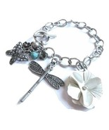 Metal Chain Charm Bracelet with Flower, Butterfly and Dragonfly Charms - $22.00