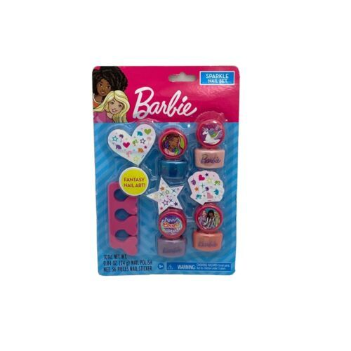 Primary image for Barbie Sparkle Nail Set - 4 polish colors + 56 nail stickers. Mani Pedi at Home