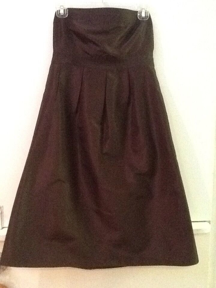 J.Crew Women's 6 100% Silk Brown Strapless Dress Lined image 1
