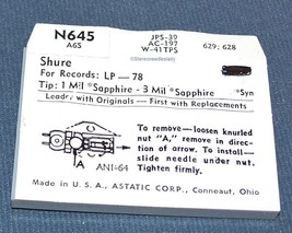 RECORD PLAYER STYLUS NEEDLE Astatic N645 for MAGNAVOX 560193 754-SS13 image 2