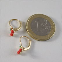 SOLID 18K YELLOW GOLD PENDANT EARRINGS WITH CHERRY, LEVERBACK, MADE IN ITALY image 6
