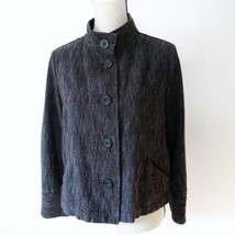 J. Jill Size Medium Swing Jacket Navy Blue Cotton Blend Button Stand Up ... - $19.06