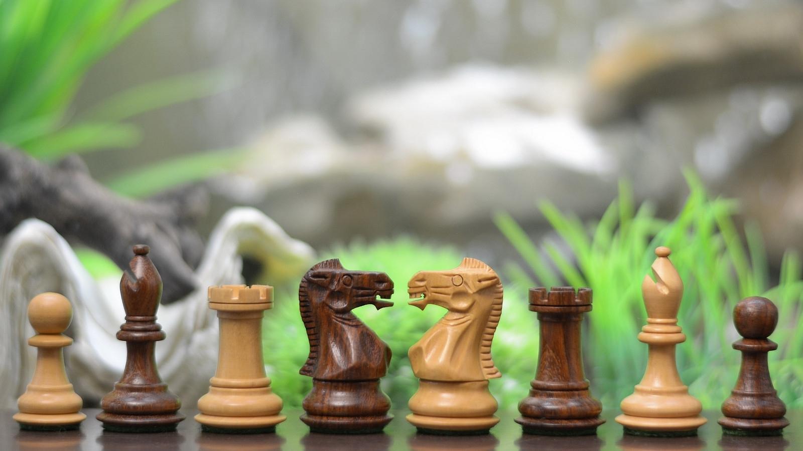 "Staunton Chess Pieces in Sheesham & Box Wood - 2.6""- SKU: M0018 (FREE SHIPPING)"