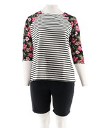 Denim & Co Cool & Active Floral Stripe Printed Top Short Set Black M NEW... - $32.65