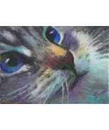original ACEO drawing colorful blue eye cat face - $24.99