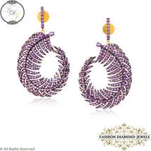 925 Silver Gemstone Studded Feather Dangle Earrings, Amethyst Gemstone J... - $898.32
