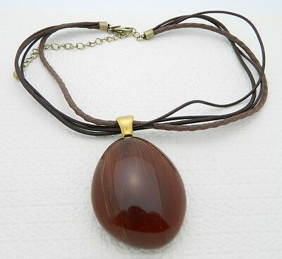 Primary image for VTG Chico's Brown Lucite Filled Horse Hair or Brush Bristle Pendant Necklace