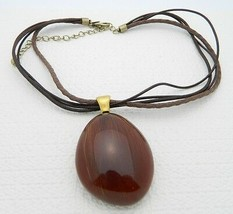 VTG Chico's Brown Lucite Filled Horse Hair or Brush Bristle Pendant Neck... - $29.70