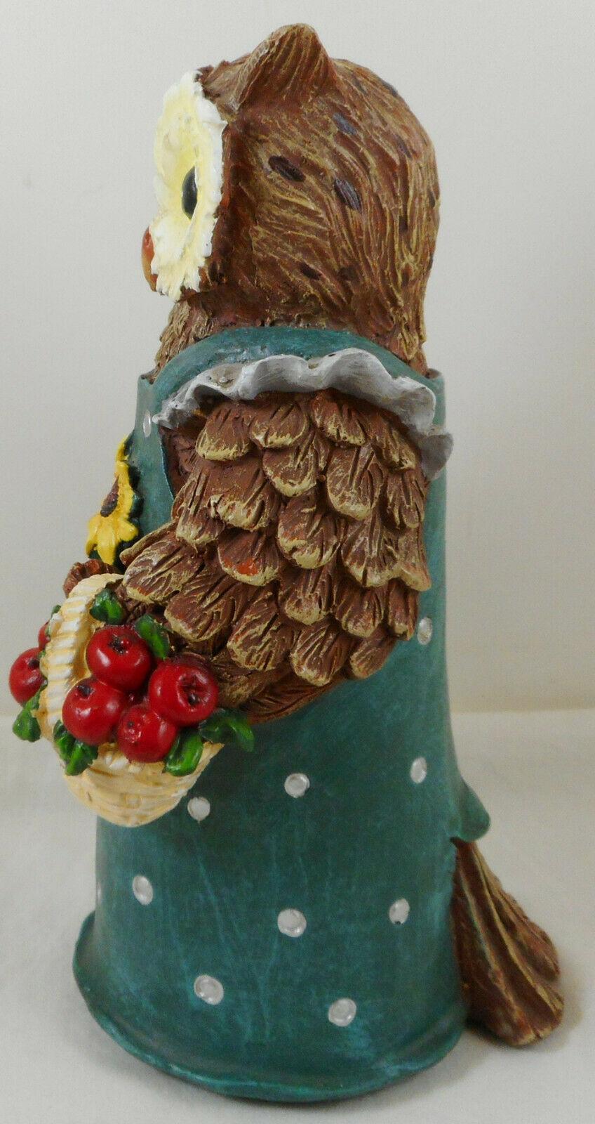 "Anthropomorphic Owl Figurine 9"" Resin Green Dress"
