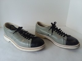 Vtg Womens Brunswick Bowling Shoes 9 1/2 Leather Upper Gray Black - $31.67