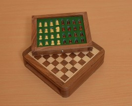 "Traveling Magnetic Chess Set 5 x 5 "" with Drawer fitted pieces from India M0001 - $59.99"