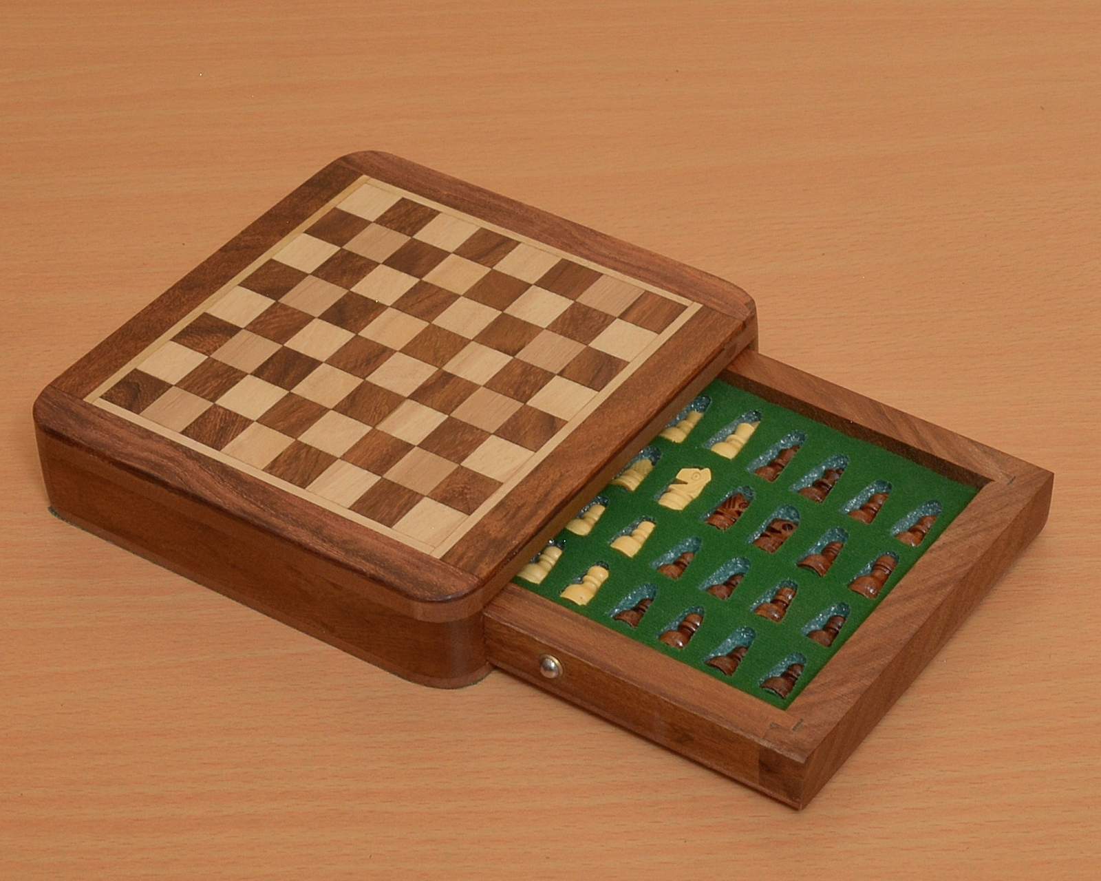 """Traveling Magnetic Chess Set 5 x 5 """" with Drawer fitted pieces from India M0001"""
