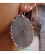 Large 45mm 925 Silver Round Drop Disc Earrings SE-171-DG - $38.99