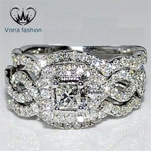 Princess Cut CZ White Gold Plated 925 Silver Women's Engagement Wedding Ring Set - $118.99