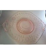 VTG PINK DEPRESSION GLASS ETCHED FLORAL PATTERN SERVING PLATE  DISH W HA... - $61.38