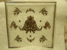 Vintage Mid Century Retro Georges Briard Gold Doves Glass Trinket Dish /... - $18.56