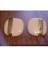 MONET luxury clip on earrings Enamel with Gold stripe - $26.95