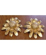 Large Sunflower clip on Earrings Vintage Goldto... - $15.95