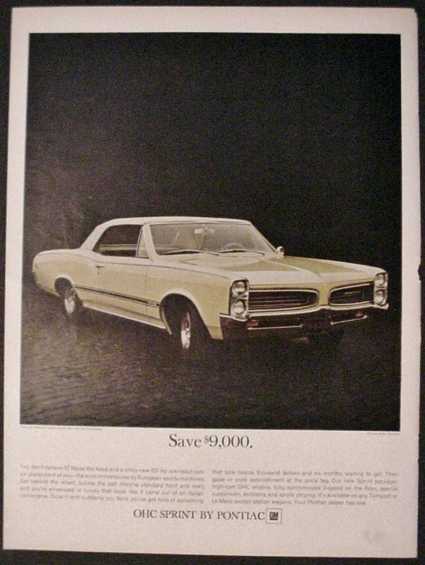 Pontiac 1966 Tempest Custom Convertible Sprint Automobile Auto Car Print Ad - $12.99