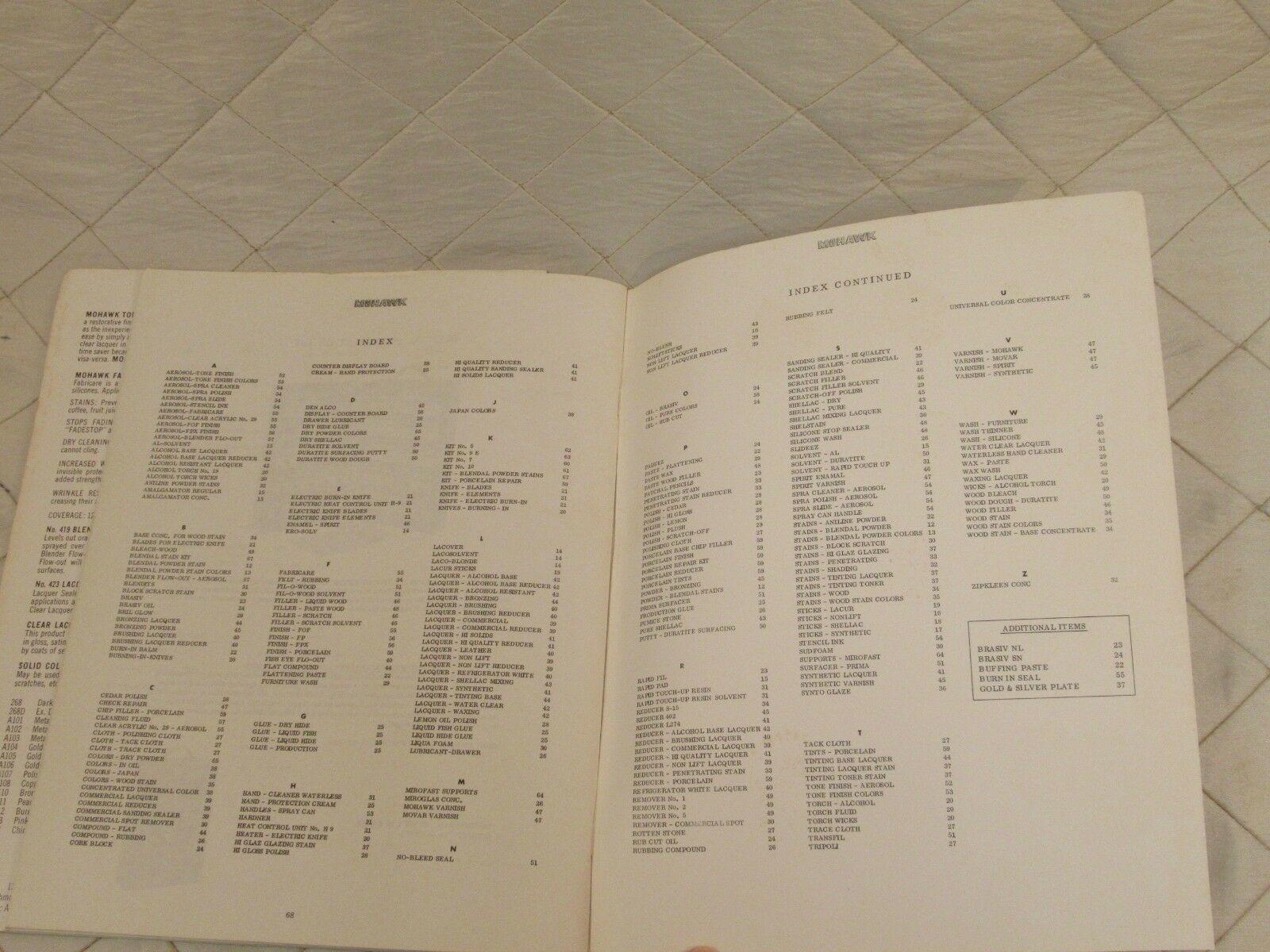 Vintage Mohawk Finishing Products Catalog No 202 includes Tone Finish Sheet 1962