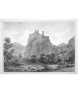 ITALY South Tyrol Castle Firmiano Castel - 1870s Original Engraving Print - $30.22