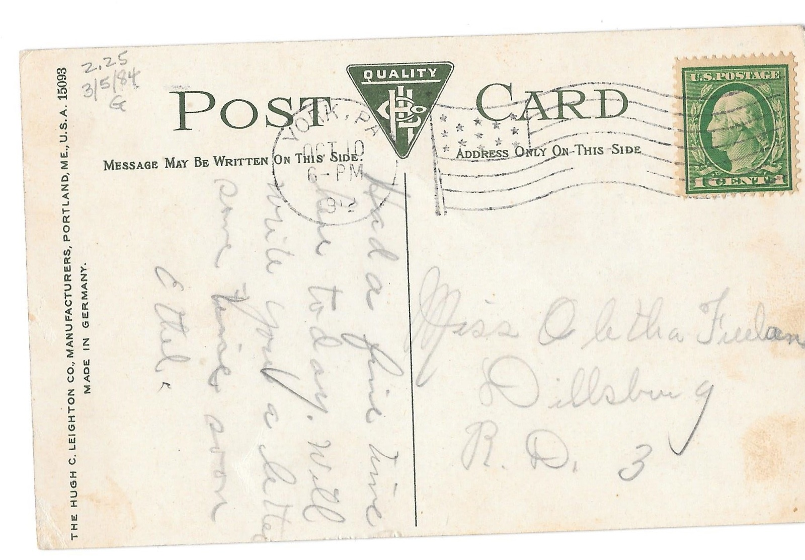 York PA Hotel Penn Horse Carriage Vntg 1912 Hugh Leighton Postcard