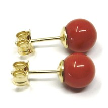 18K YELLOW GOLD BALLS SPHERES RED CORAL BUTTON EARRINGS, 7.5 MM, 0.3 INCHES image 2