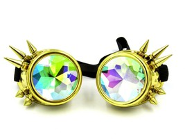 Rainbow Spiked Steampunk Goggles, Kaleidoscope Rave Lenses Cyber Welding... - $14.80