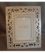 Encore Reticulated Porcelain Frame White and Gold New - $10.29