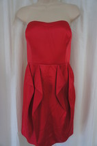 Jessica Simpson Dress Sz 14 Barberry Red Strapless Ruffle Casual Cocktai... - £46.60 GBP