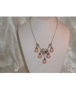 Vintage Victorian Style Necklace 925 Sterling Silver & Glass Pearl Bib - $149.95