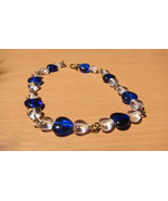Blue and Clear Heart Glass Bead Bracelet Handmade By Me - $7.97